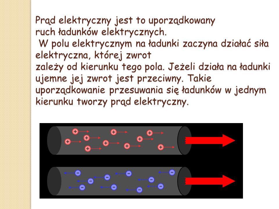 Prąd elektryczny jest to uporządkowany ruch ładunków elektrycznych