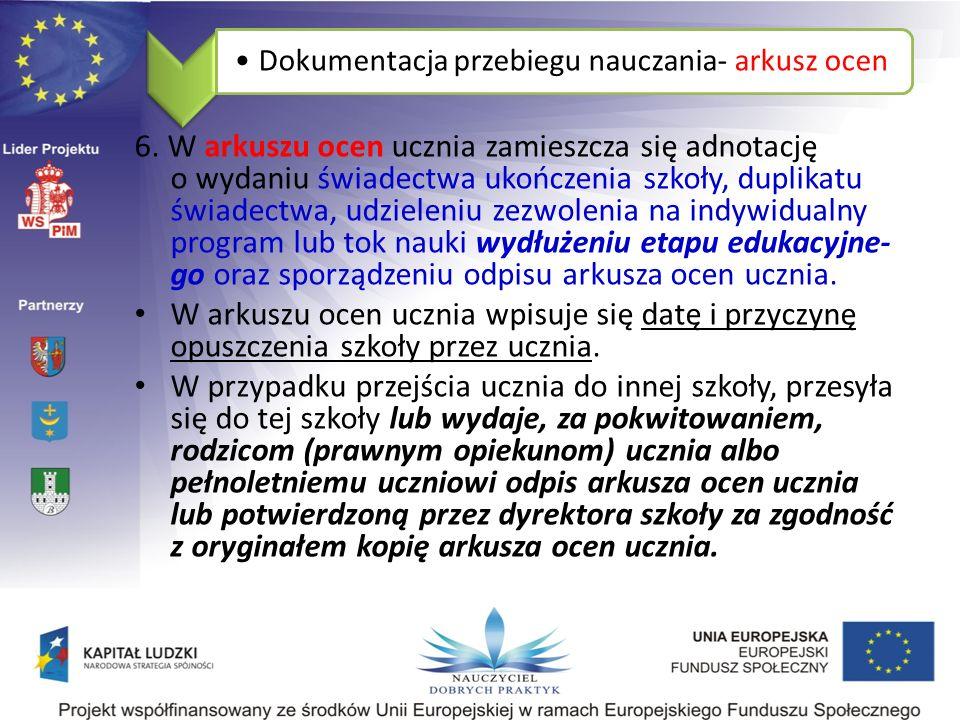 Dokumentacja przebiegu nauczania- arkusz ocen