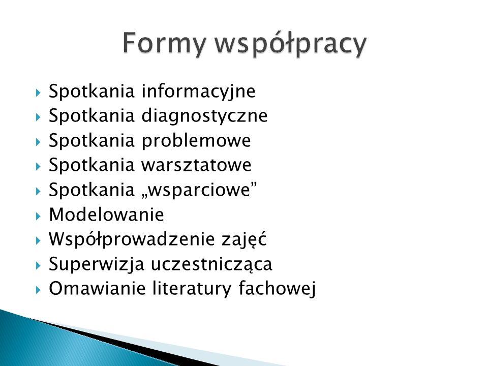 Formy współpracy Spotkania informacyjne Spotkania diagnostyczne