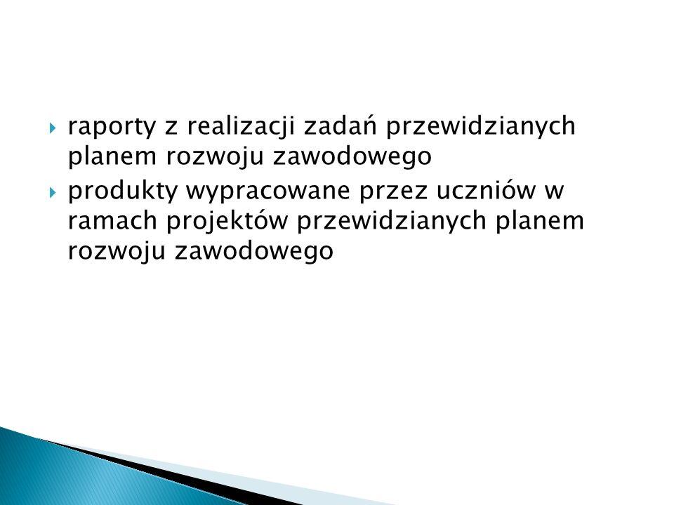 raporty z realizacji zadań przewidzianych planem rozwoju zawodowego