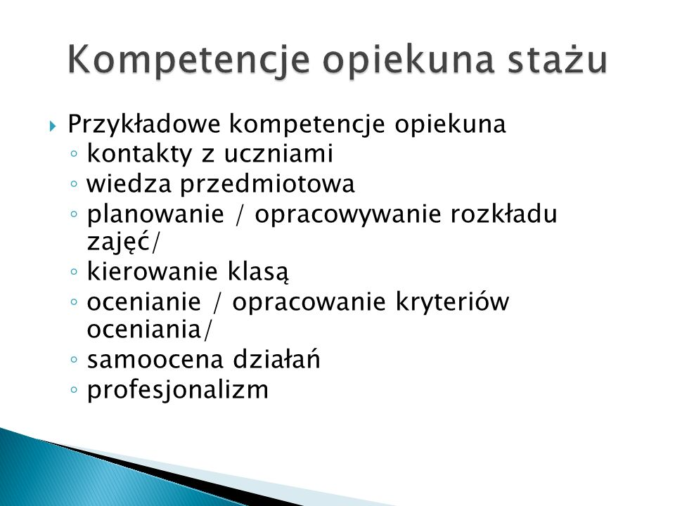 Kompetencje opiekuna stażu