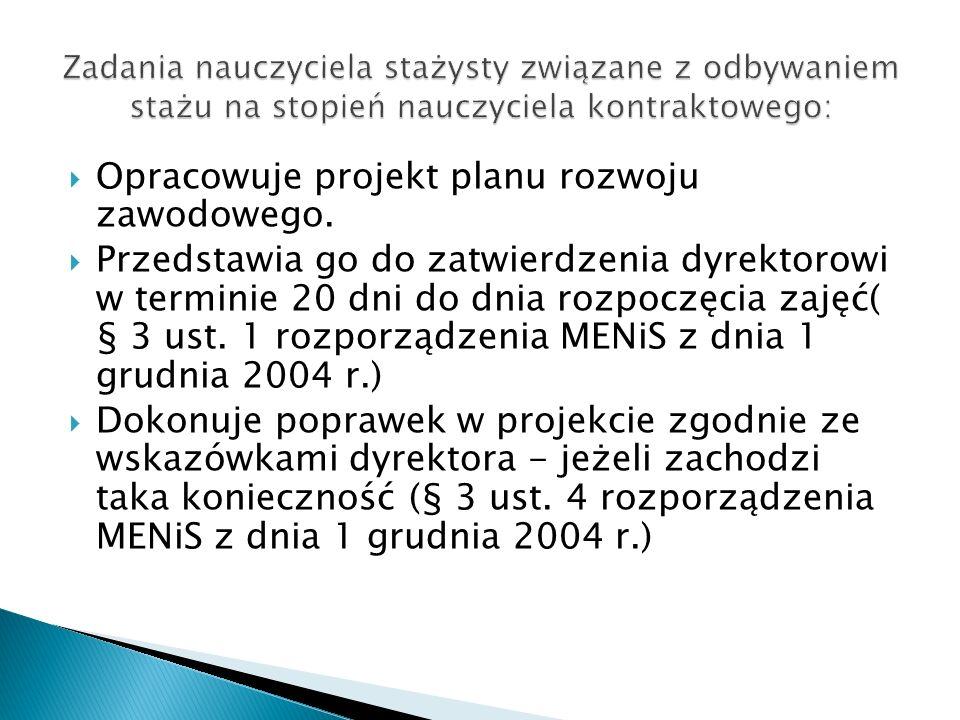 Opracowuje projekt planu rozwoju zawodowego.