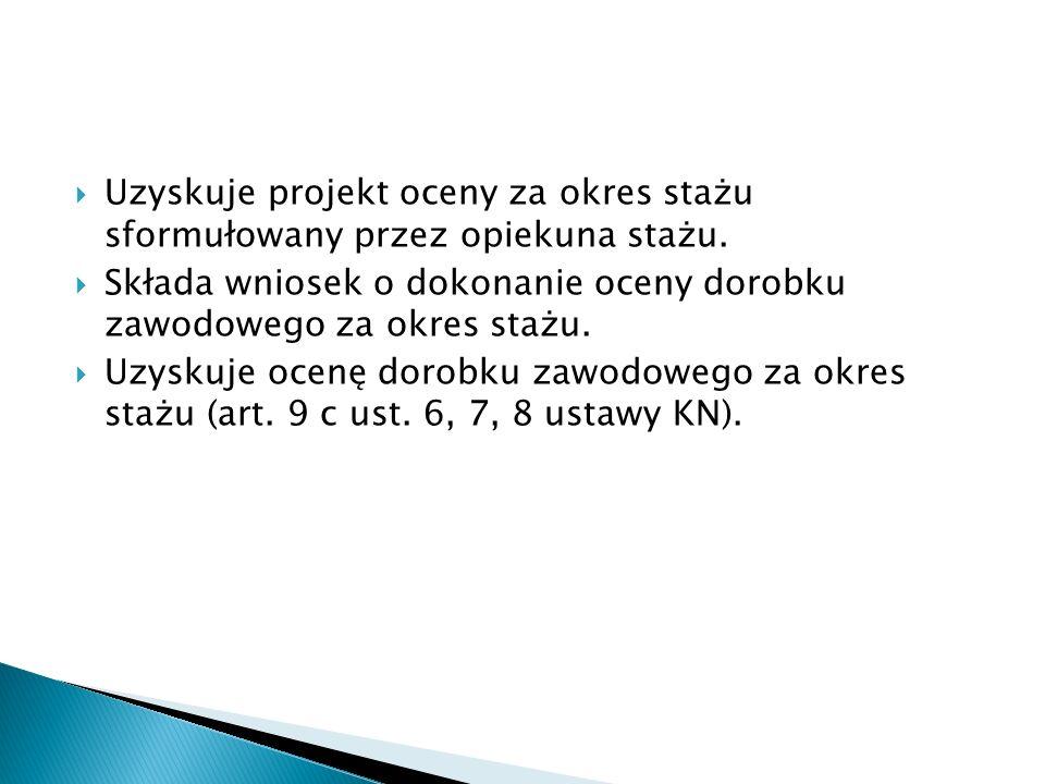 Uzyskuje projekt oceny za okres stażu sformułowany przez opiekuna stażu.