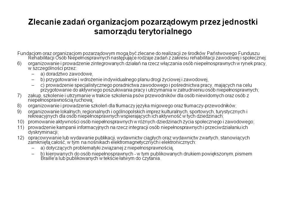 Zlecanie zadań organizacjom pozarządowym przez jednostki samorządu terytorialnego