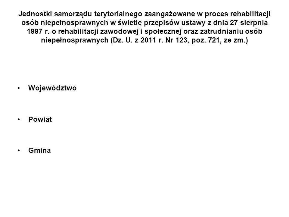 Jednostki samorządu terytorialnego zaangażowane w proces rehabilitacji osób niepełnosprawnych w świetle przepisów ustawy z dnia 27 sierpnia 1997 r. o rehabilitacji zawodowej i społecznej oraz zatrudnianiu osób niepełnosprawnych (Dz. U. z 2011 r. Nr 123, poz. 721, ze zm.)