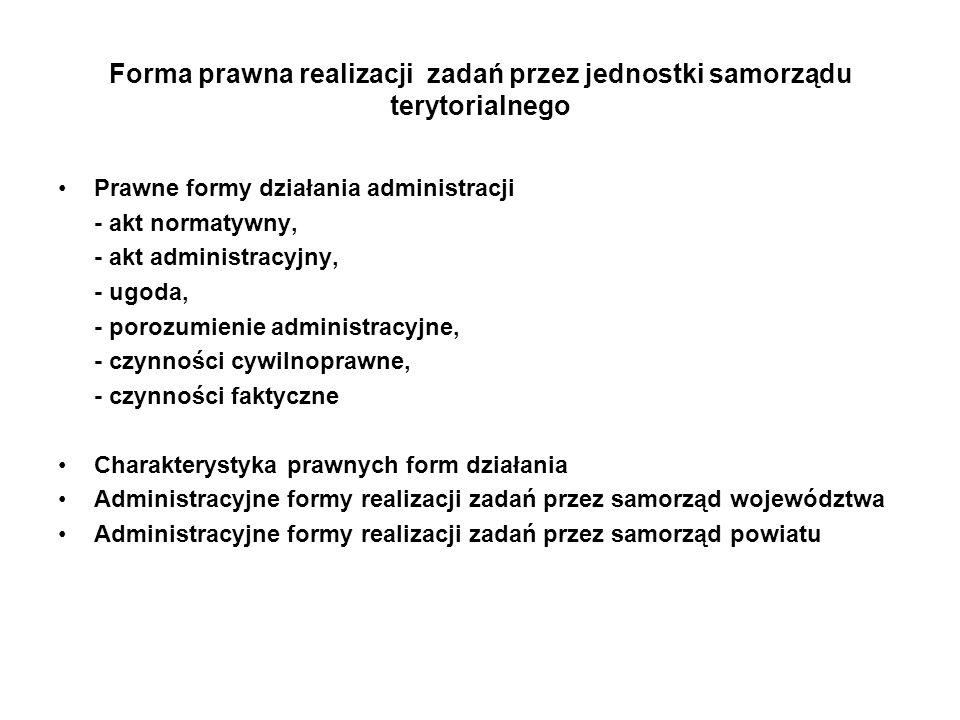 Forma prawna realizacji zadań przez jednostki samorządu terytorialnego