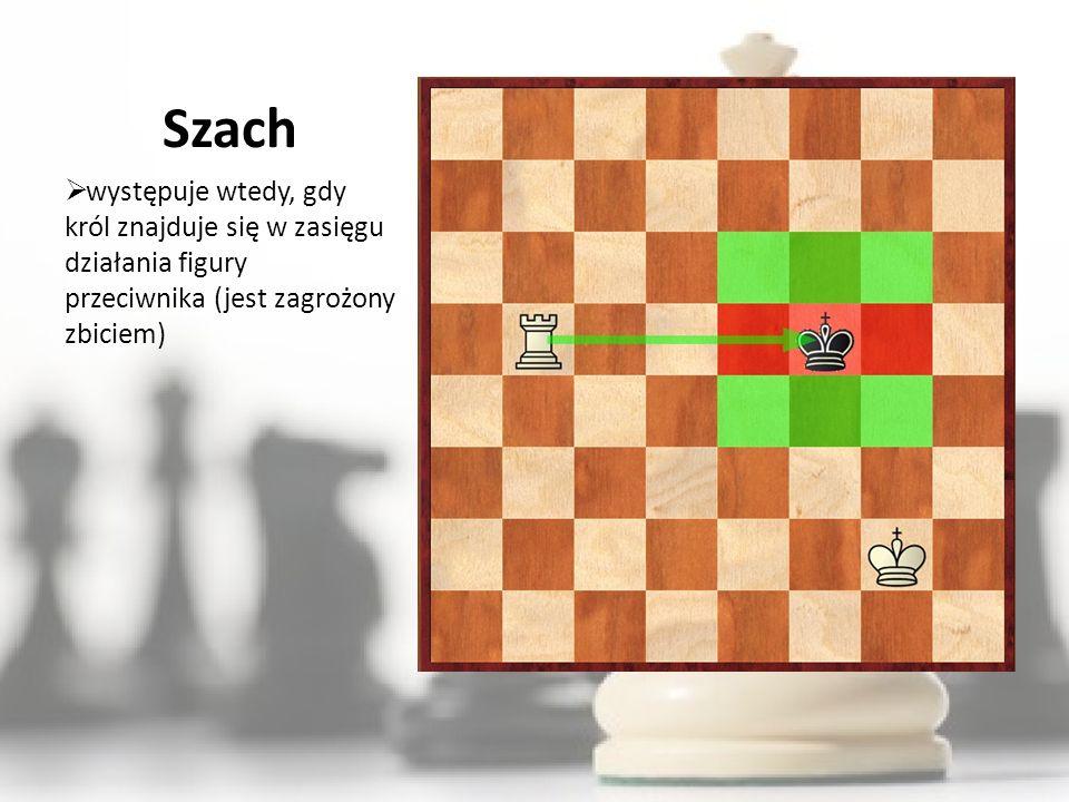 Szach występuje wtedy, gdy król znajduje się w zasięgu działania figury przeciwnika (jest zagrożony zbiciem)
