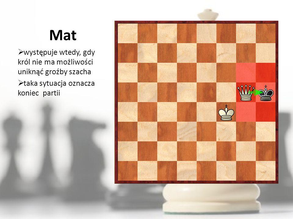 Mat występuje wtedy, gdy król nie ma możliwości uniknąć groźby szacha
