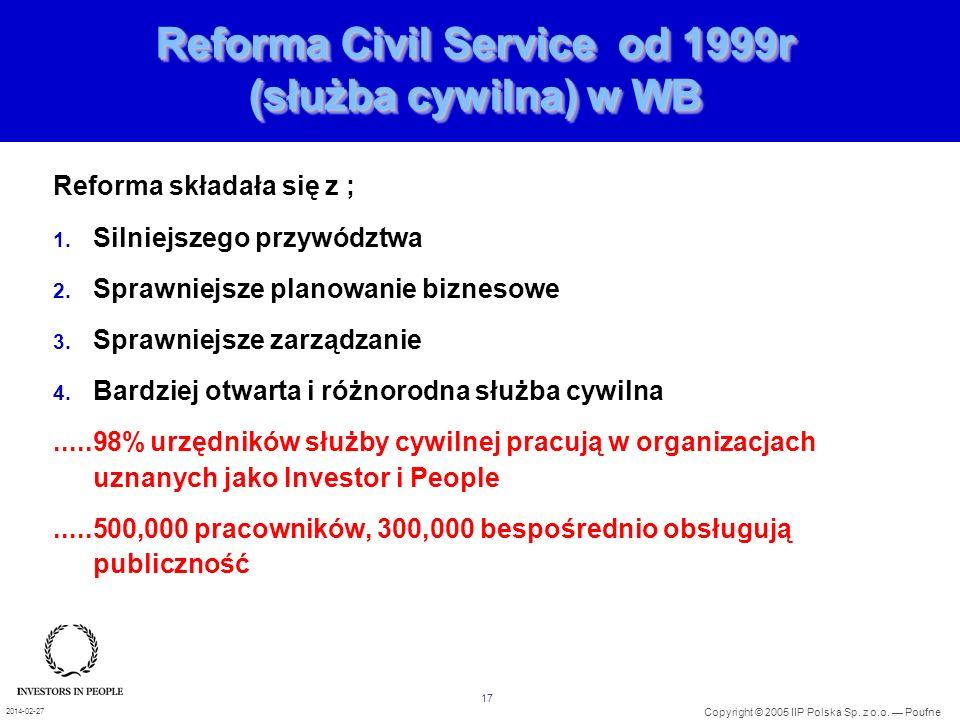 Reforma Civil Service od 1999r (służba cywilna) w WB