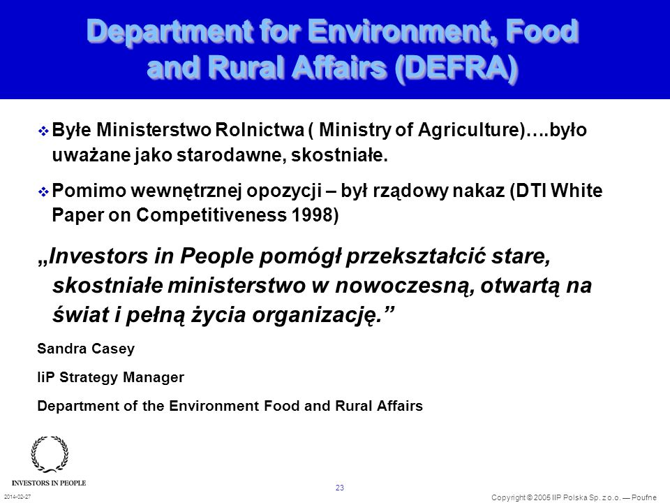 Department for Environment, Food and Rural Affairs (DEFRA)
