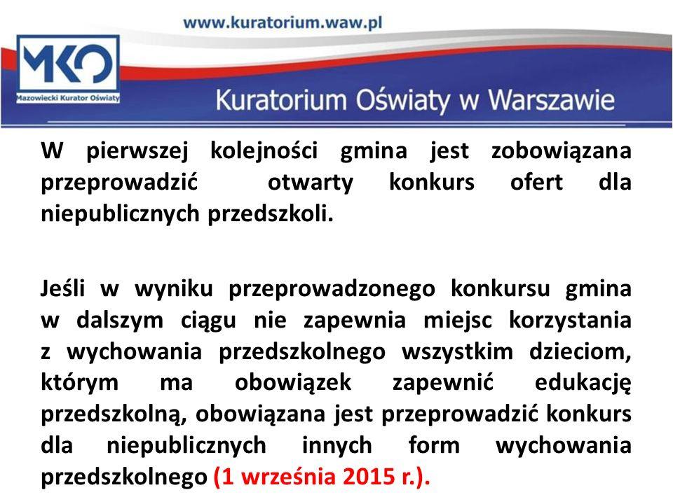 W pierwszej kolejności gmina jest zobowiązana przeprowadzić otwarty konkurs ofert dla niepublicznych przedszkoli.