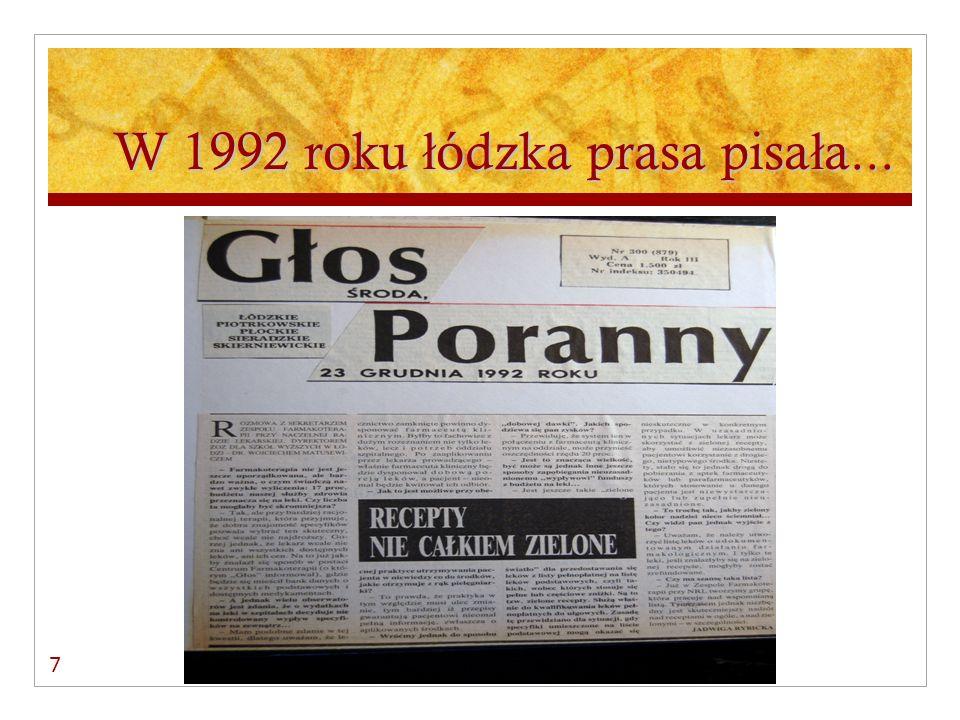 ERA ZIELONYCH RECEPT 27.09.1991 r. – IV kwartał 1998 r.