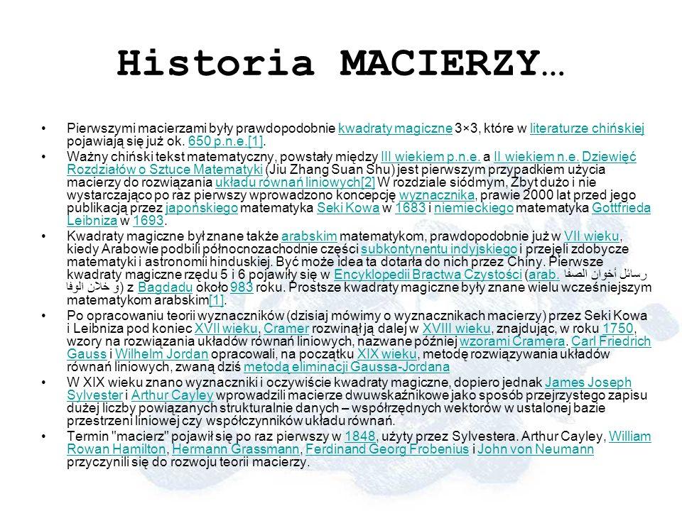 Historia MACIERZY…