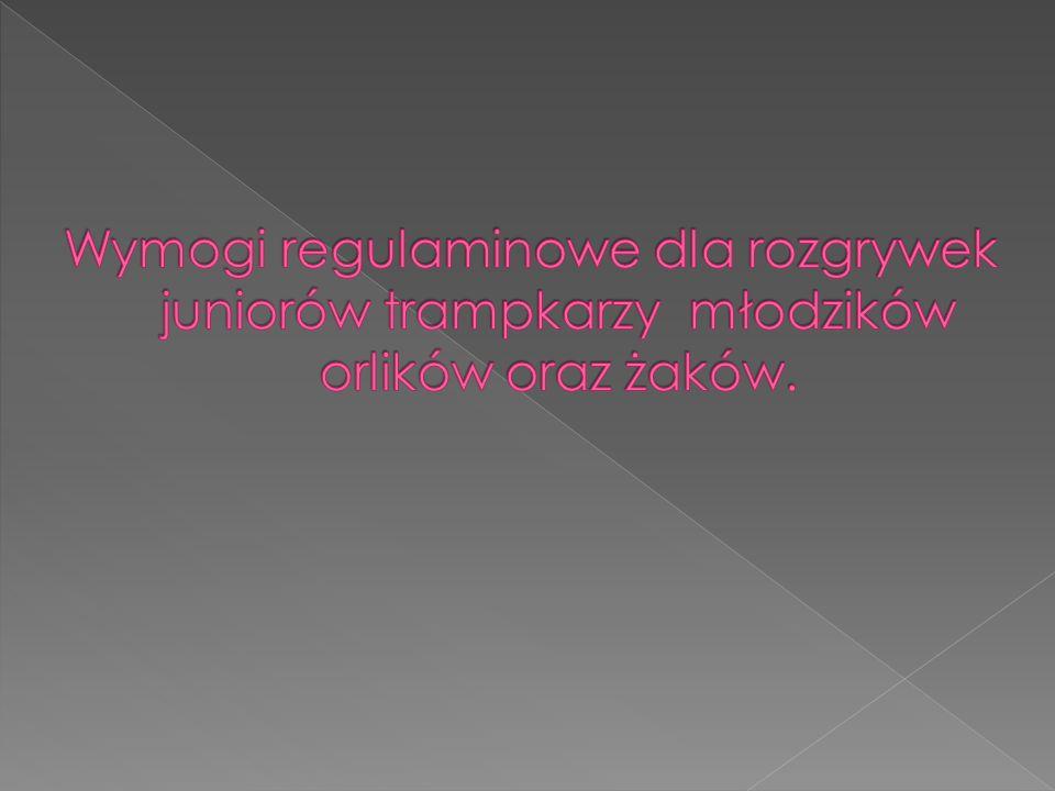 Wymogi regulaminowe dla rozgrywek juniorów trampkarzy młodzików orlików oraz żaków.