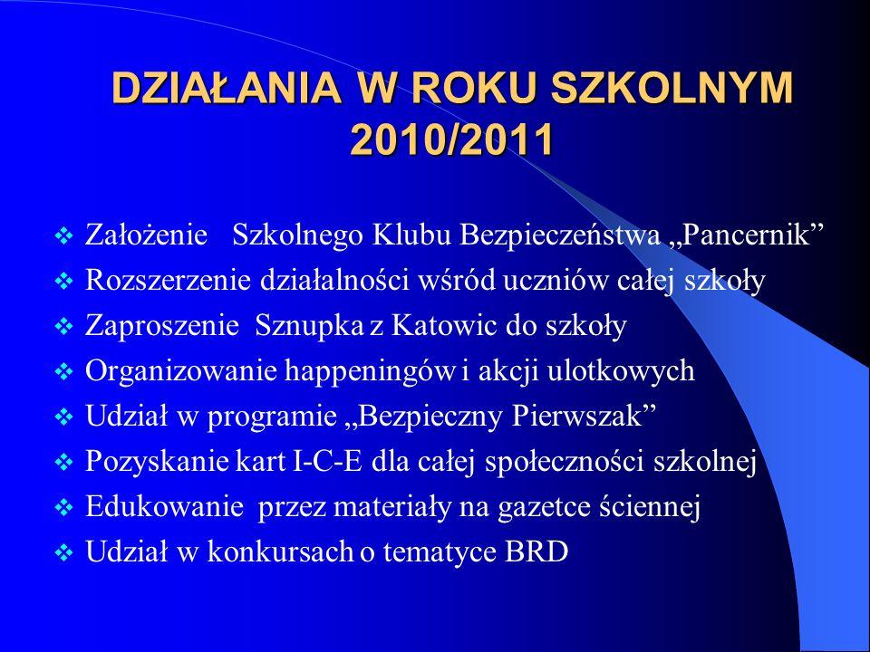 DZIAŁANIA W ROKU SZKOLNYM 2010/2011