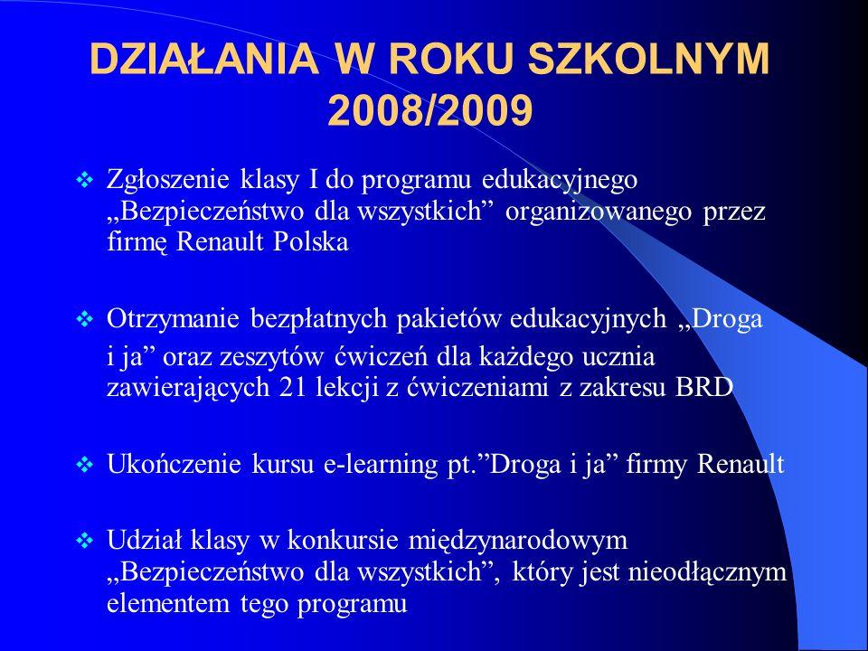 DZIAŁANIA W ROKU SZKOLNYM 2008/2009