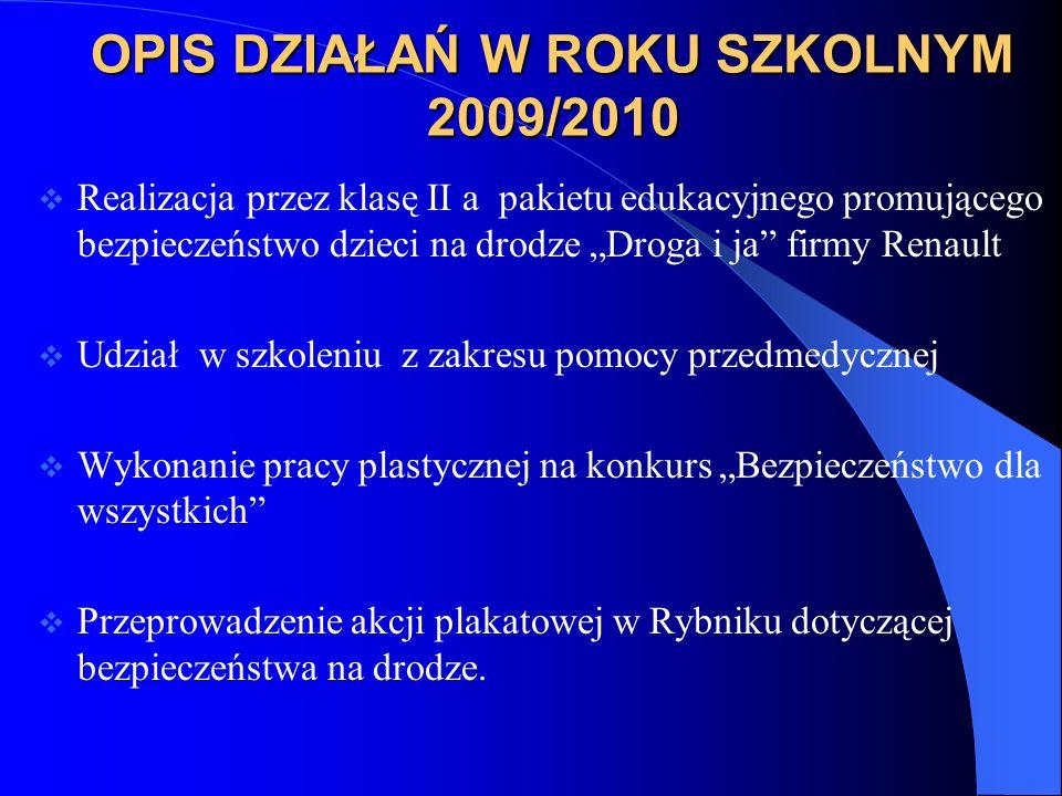 OPIS DZIAŁAŃ W ROKU SZKOLNYM 2009/2010