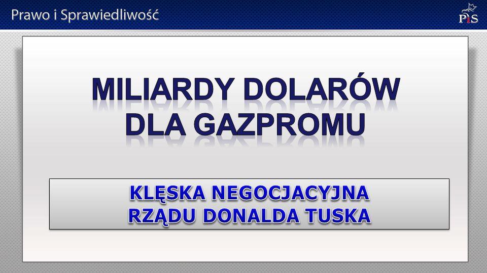 MILIARDY DOLARÓW DLA GAZPROMU