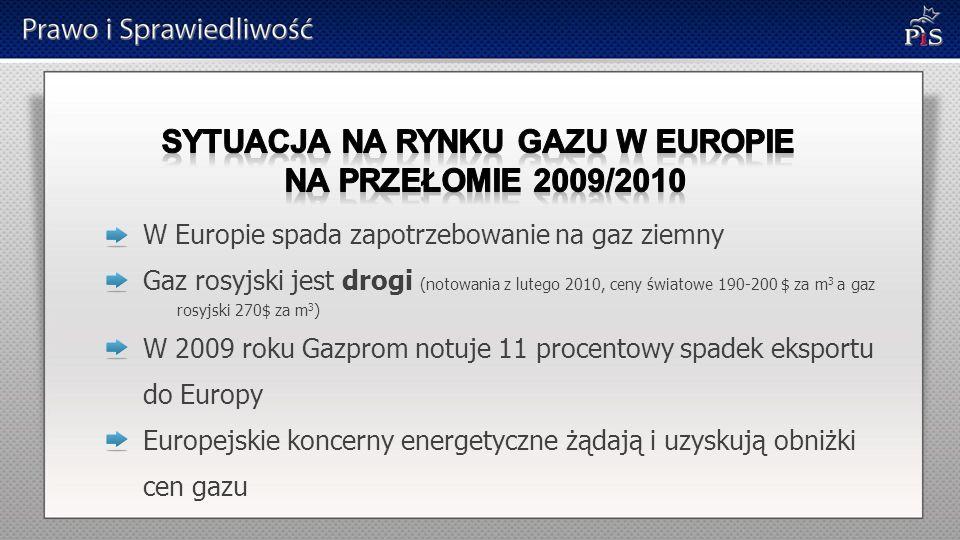 SYTUACJA NA RYNKU GAZU W EUROPIE na przełomie 2009/2010