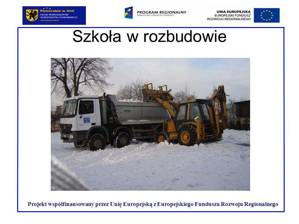 Szkoła w rozbudowie Projekt współfinansowany przez Unię Europejską z Europejskiego Funduszu Rozwoju Regionalnego.
