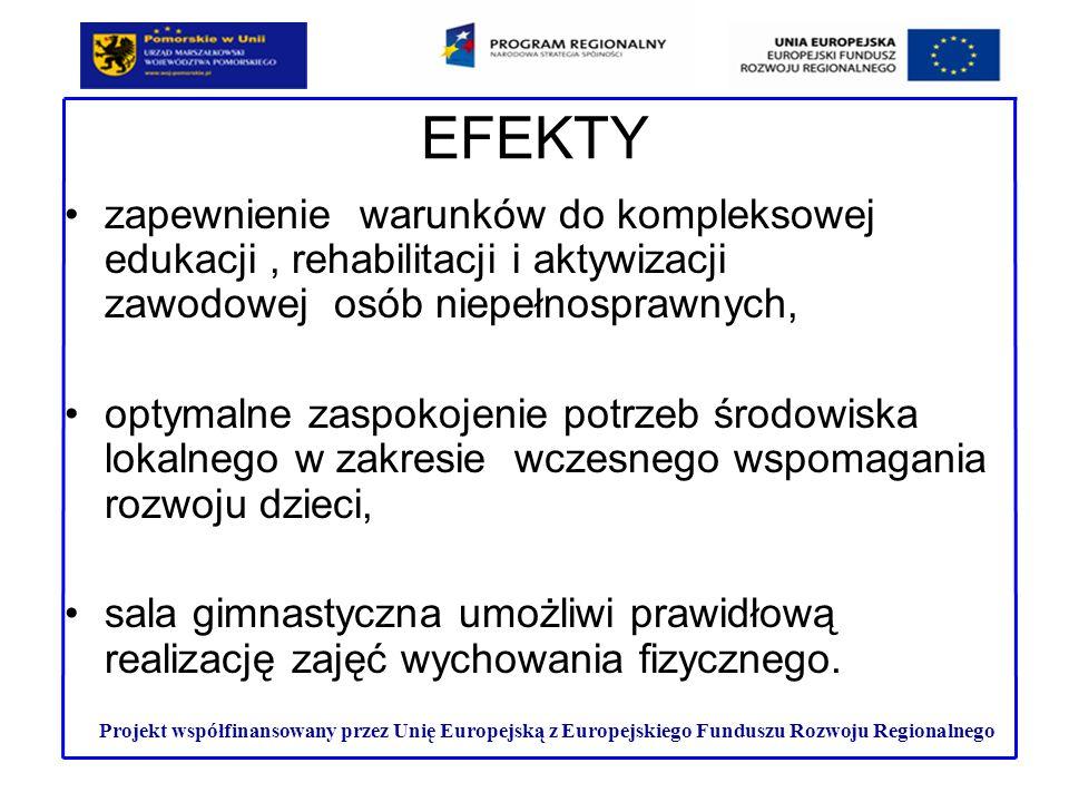 EFEKTY zapewnienie warunków do kompleksowej edukacji , rehabilitacji i aktywizacji zawodowej osób niepełnosprawnych,