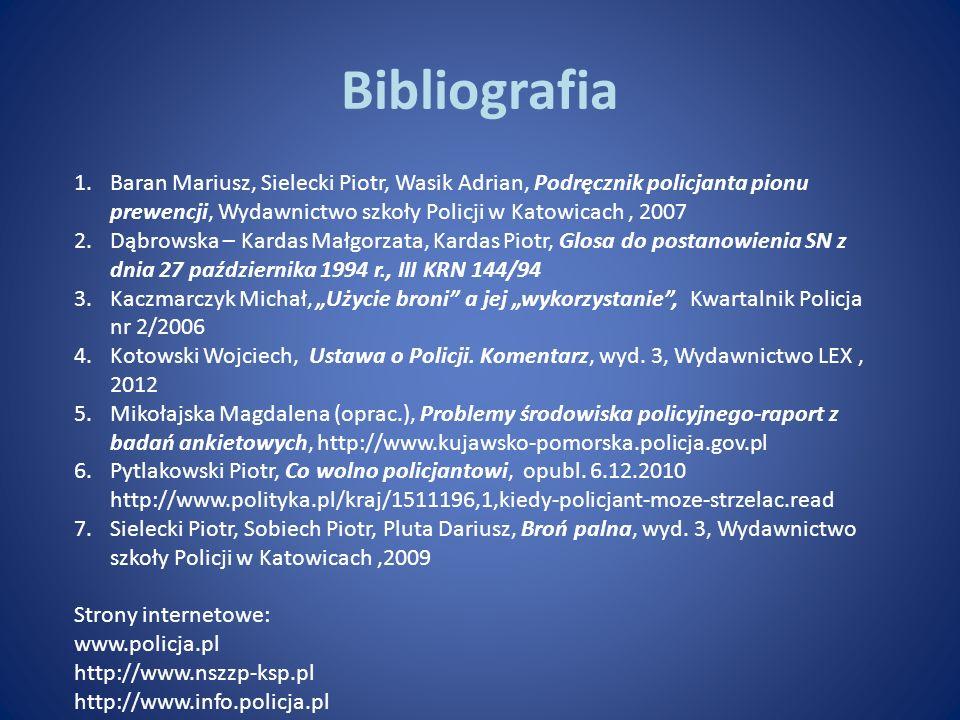 Bibliografia Baran Mariusz, Sielecki Piotr, Wasik Adrian, Podręcznik policjanta pionu prewencji, Wydawnictwo szkoły Policji w Katowicach , 2007.