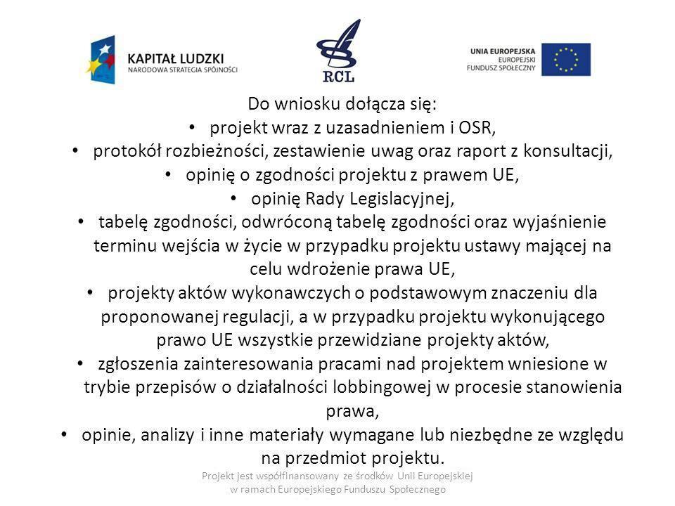 Do wniosku dołącza się: projekt wraz z uzasadnieniem i OSR,