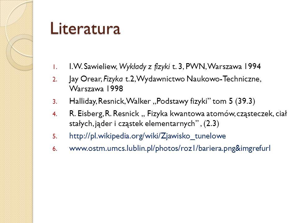 Literatura I.W. Sawieliew, Wykłady z fizyki t. 3, PWN, Warszawa 1994