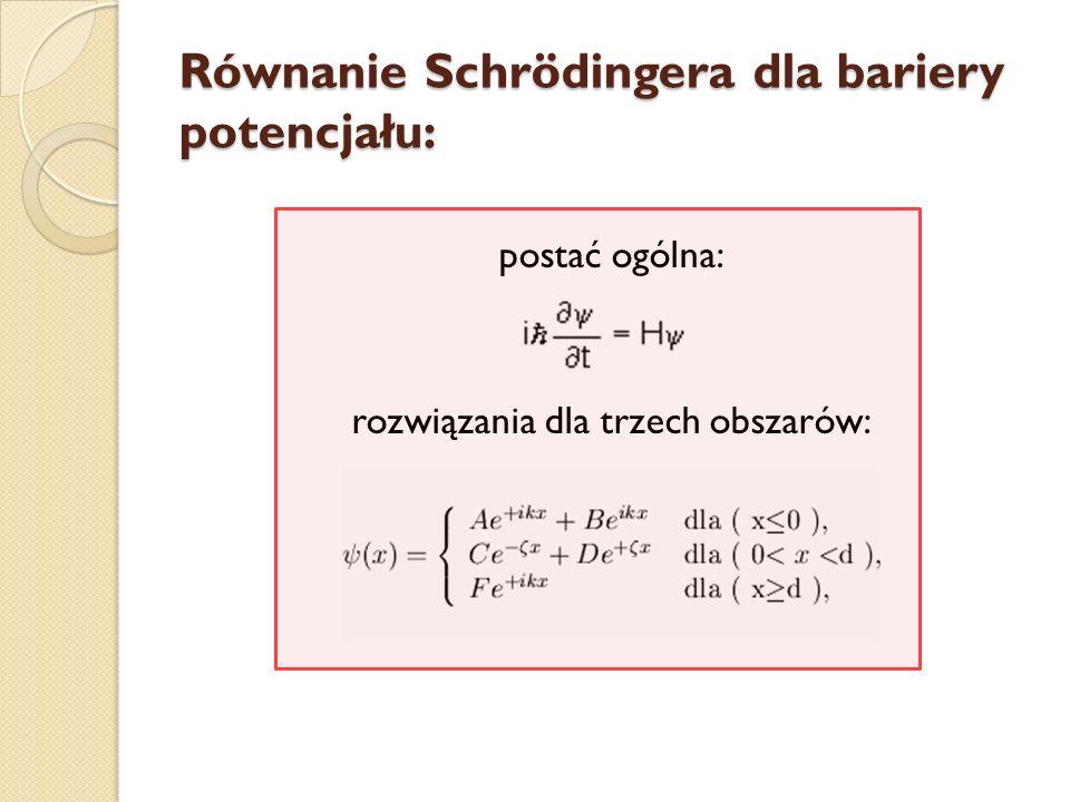 Równanie Schrödingera dla bariery potencjału: