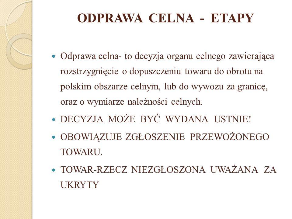 ODPRAWA CELNA - ETAPY