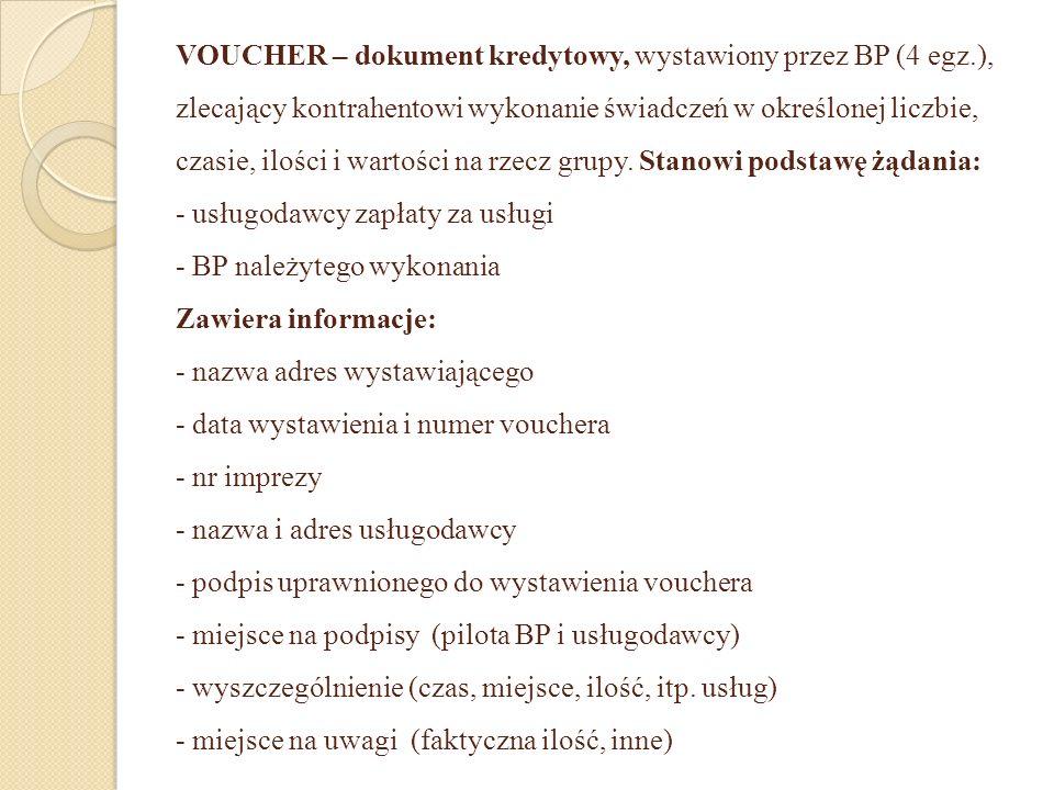 VOUCHER – dokument kredytowy, wystawiony przez BP (4 egz