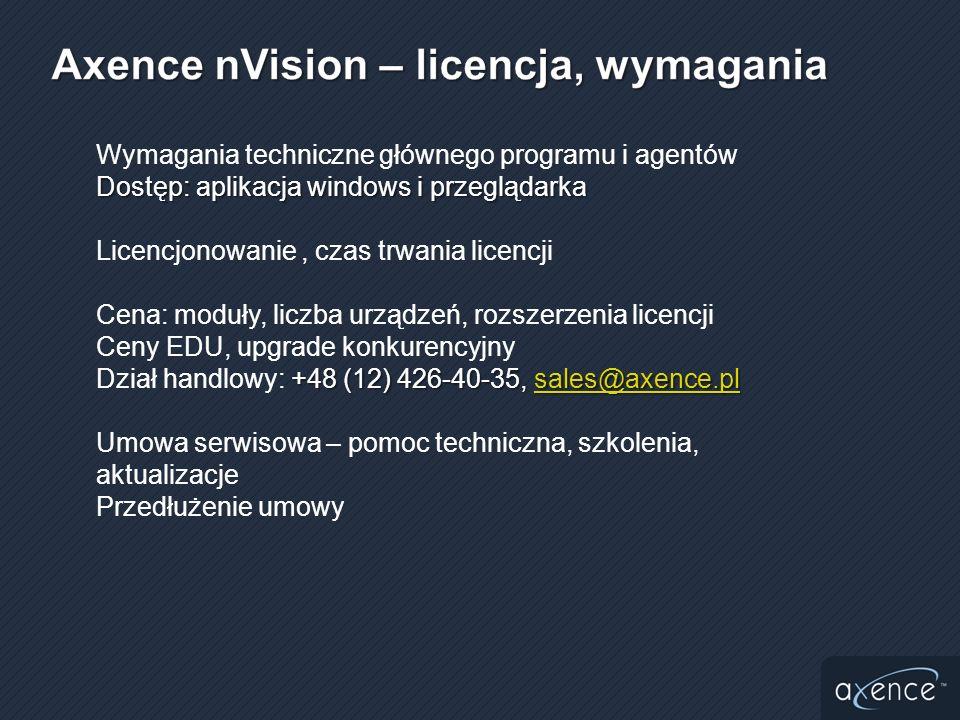 Axence nVision – licencja, wymagania
