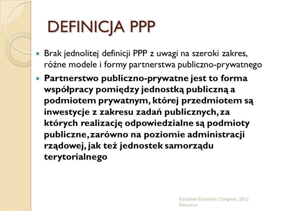 DEFINICJA PPP Brak jednolitej definicji PPP z uwagi na szeroki zakres, różne modele i formy partnerstwa publiczno-prywatnego.