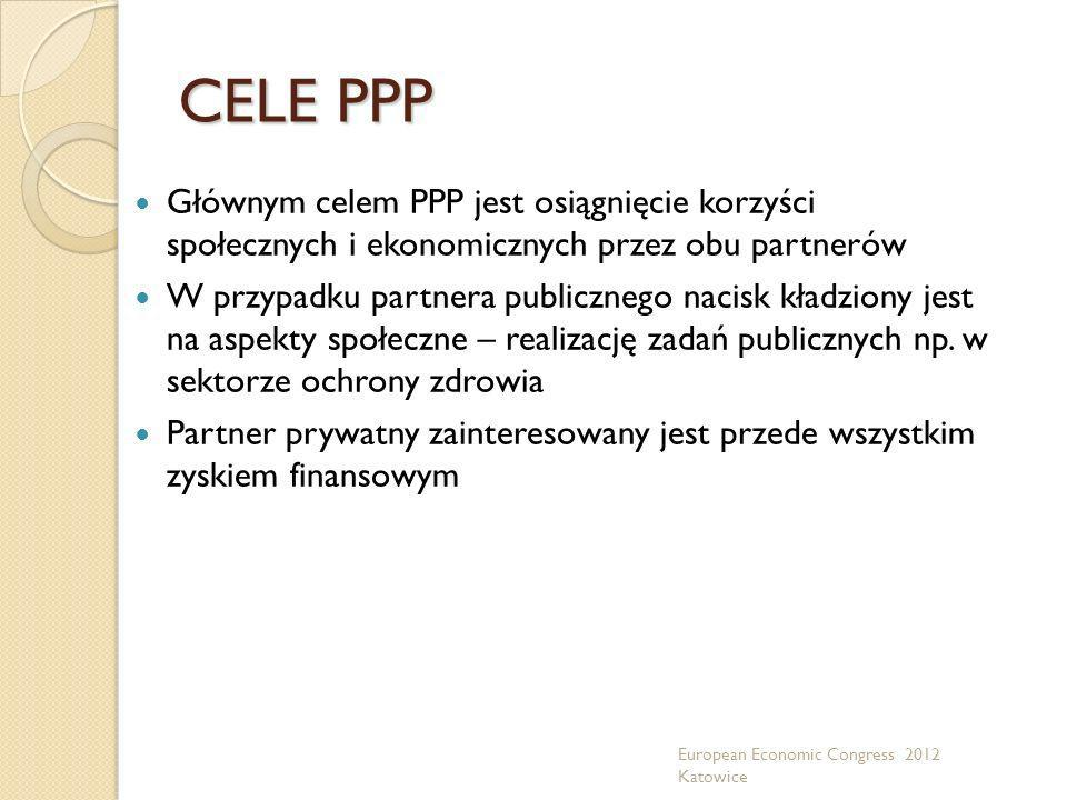 CELE PPP Głównym celem PPP jest osiągnięcie korzyści społecznych i ekonomicznych przez obu partnerów.