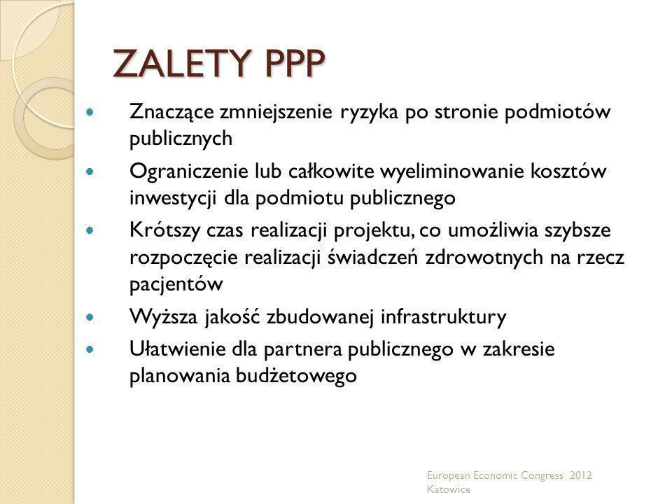 ZALETY PPP Znaczące zmniejszenie ryzyka po stronie podmiotów publicznych.