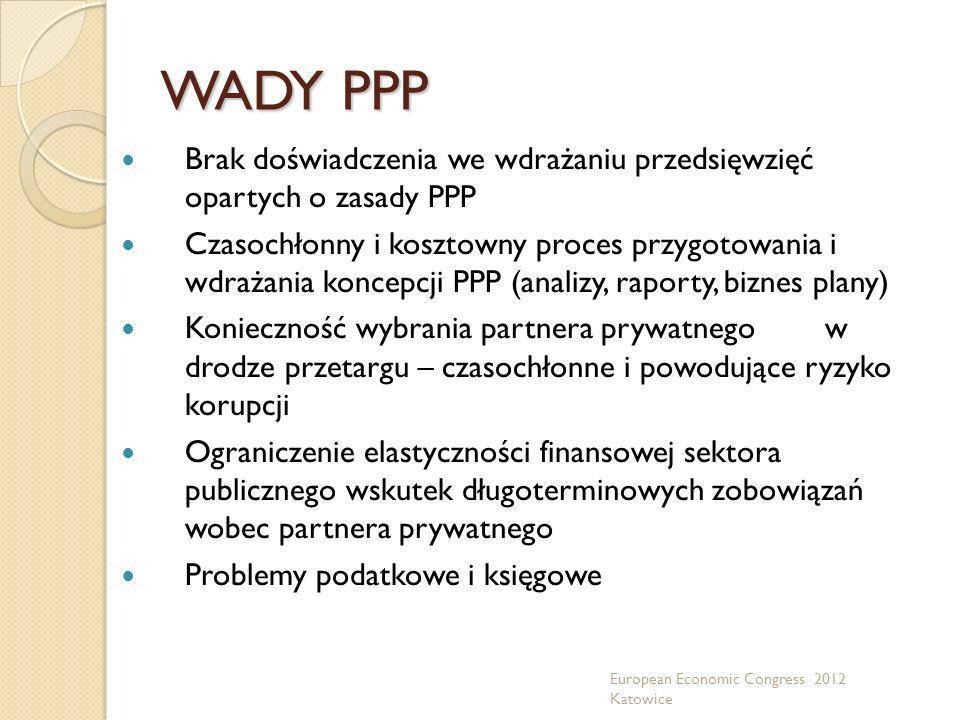 WADY PPP Brak doświadczenia we wdrażaniu przedsięwzięć opartych o zasady PPP.