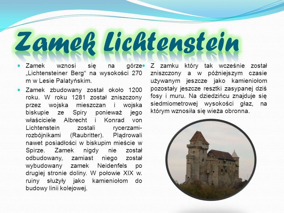 """Zamek Lichtenstein Zamek wznosi się na górze """"Lichtensteiner Berg na wysokości 270 m w Lesie Palatyńskim."""
