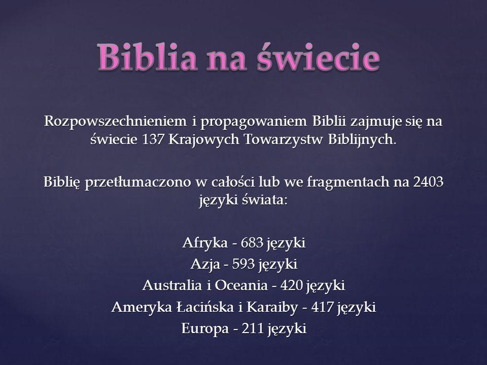 Rozpowszechnieniem i propagowaniem Biblii zajmuje się na świecie 137 Krajowych Towarzystw Biblijnych. Biblię przetłumaczono w całości lub we fragmentach na 2403 języki świata: Afryka - 683 języki Azja - 593 języki Australia i Oceania - 420 języki Ameryka Łacińska i Karaiby - 417 języki Europa - 211 języki