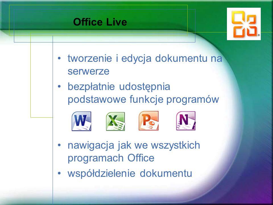 Office Live tworzenie i edycja dokumentu na serwerze. bezpłatnie udostępnia podstawowe funkcje programów.
