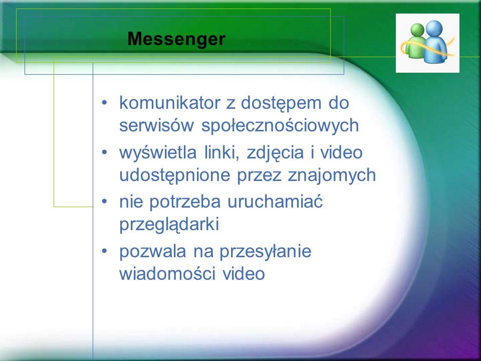 Messenger komunikator z dostępem do serwisów społecznościowych. wyświetla linki, zdjęcia i video udostępnione przez znajomych.