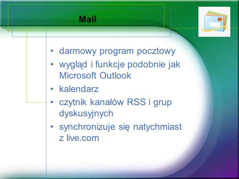 Mail darmowy program pocztowy. wygląd i funkcje podobnie jak Microsoft Outlook. kalendarz. czytnik kanałów RSS i grup dyskusyjnych.