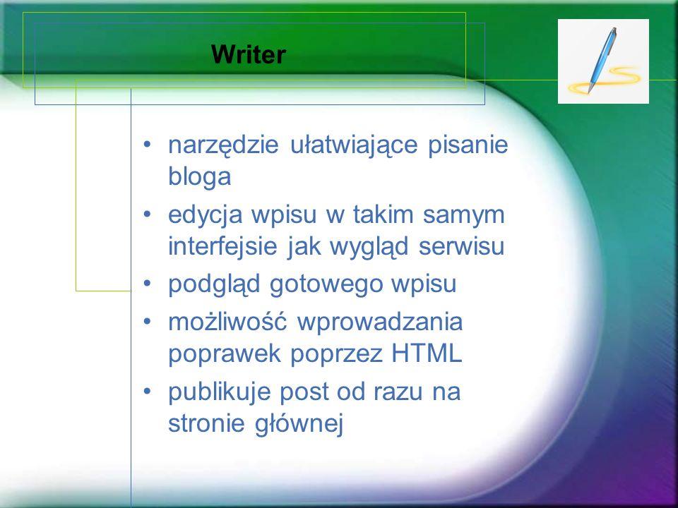 Writer narzędzie ułatwiające pisanie bloga. edycja wpisu w takim samym interfejsie jak wygląd serwisu.