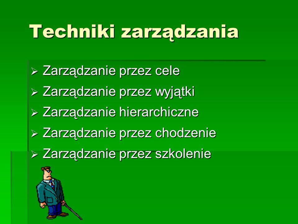 Techniki zarządzania Zarządzanie przez cele Zarządzanie przez wyjątki