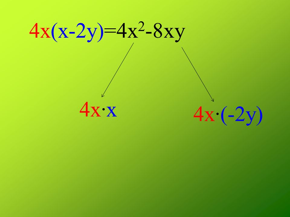 4x(x-2y)=4x2-8xy 4x·x 4x·(-2y)