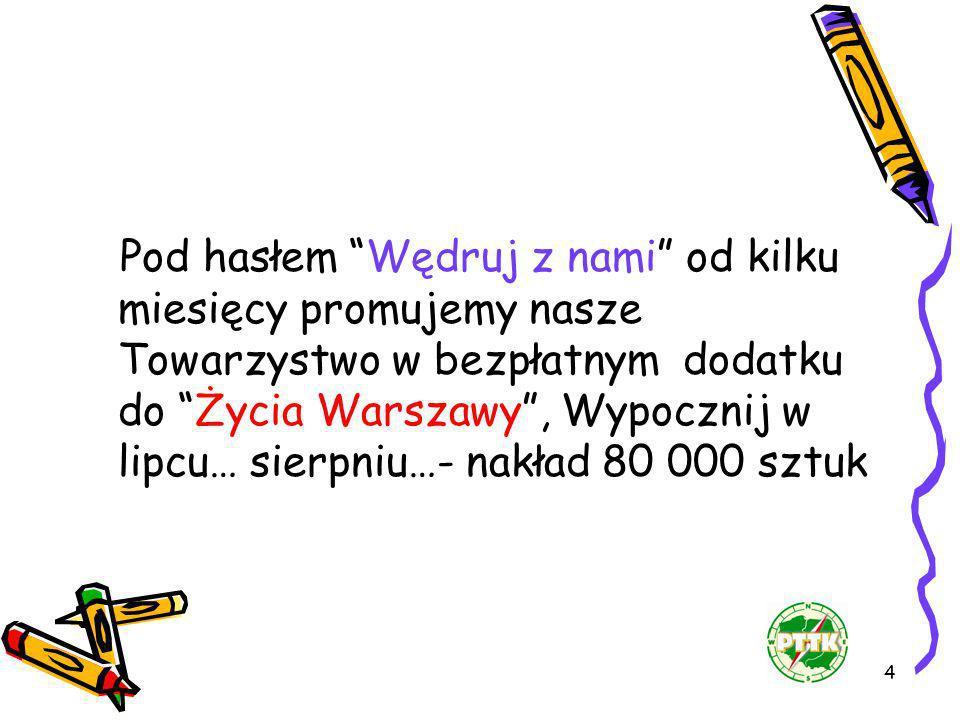 Pod hasłem Wędruj z nami od kilku miesięcy promujemy nasze Towarzystwo w bezpłatnym dodatku do Życia Warszawy , Wypocznij w lipcu… sierpniu…- nakład 80 000 sztuk