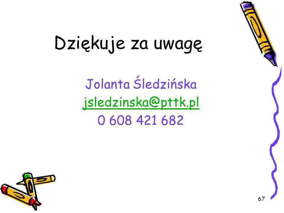 Dziękuje za uwagę Jolanta Śledzińska jsledzinska@pttk.pl 0 608 421 682