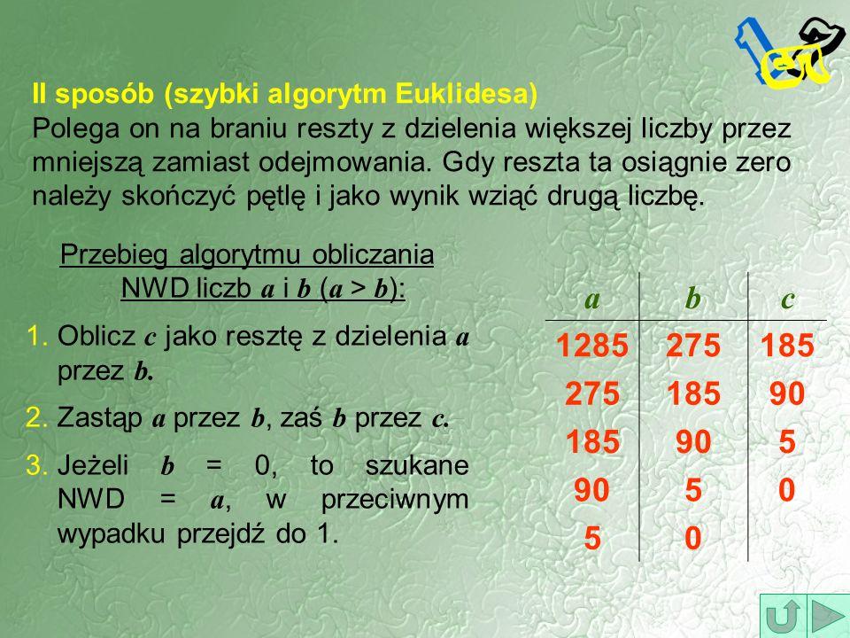 Przebieg algorytmu obliczania NWD liczb a i b (a > b):