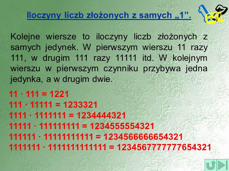 """Iloczyny liczb złożonych z samych """"1 ."""