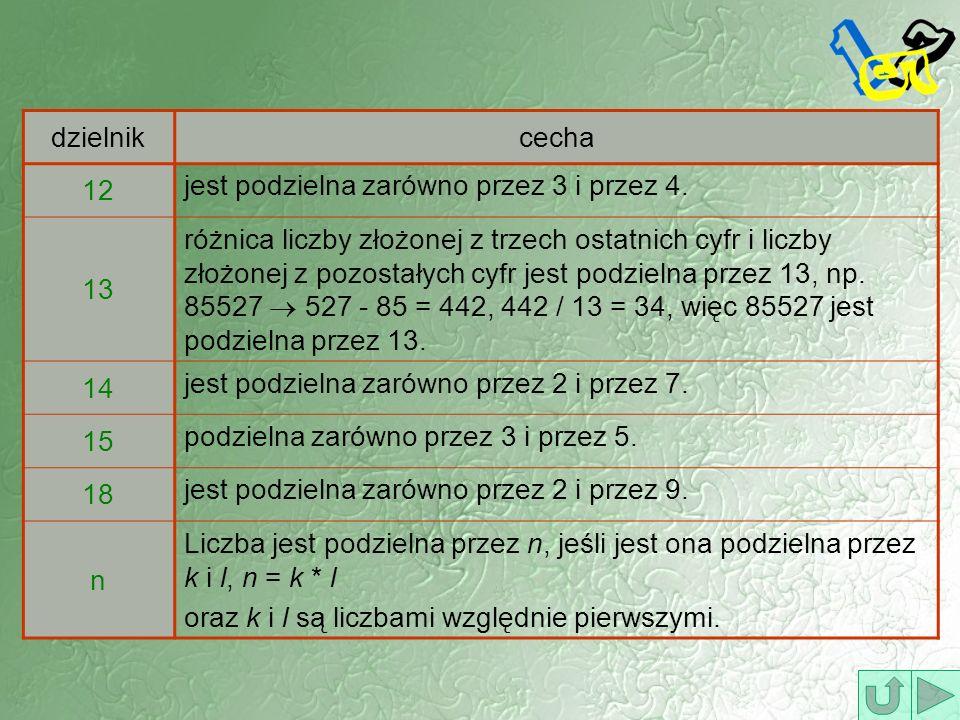 dzielnik cecha. 12. jest podzielna zarówno przez 3 i przez 4. 13.