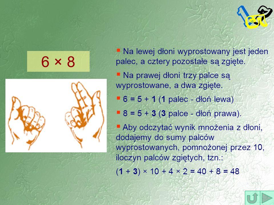 Na lewej dłoni wyprostowany jest jeden palec, a cztery pozostałe są zgięte.